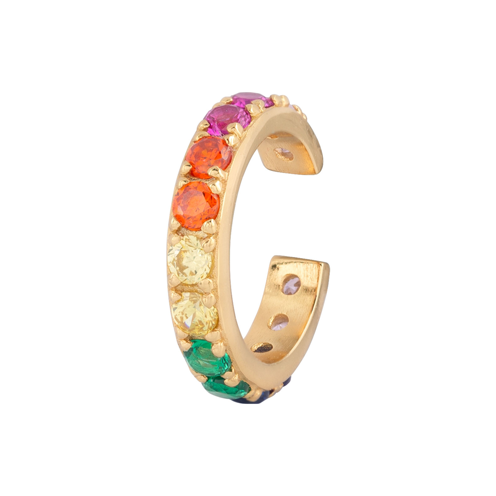 Ear Cuff Sterling Silver 925 Multicolor
