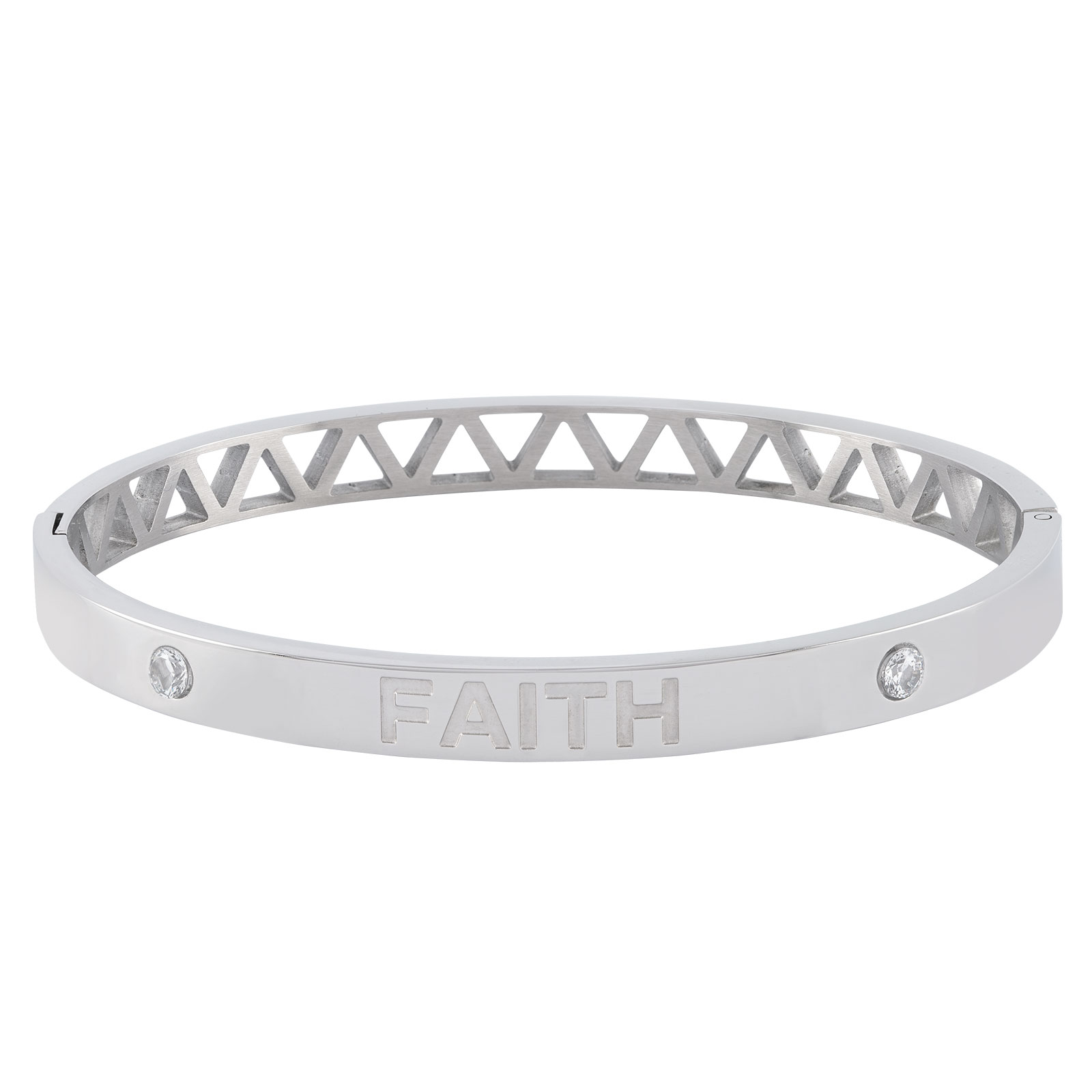 Armband stål, bangle med texten Faith